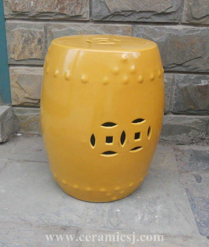 outdoor furniture yellow drum garden stool WRYIR82