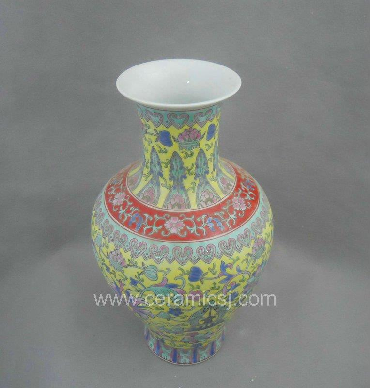 Qing Dynasty yellow Famille rose Ceramic Vase WRYRI02
