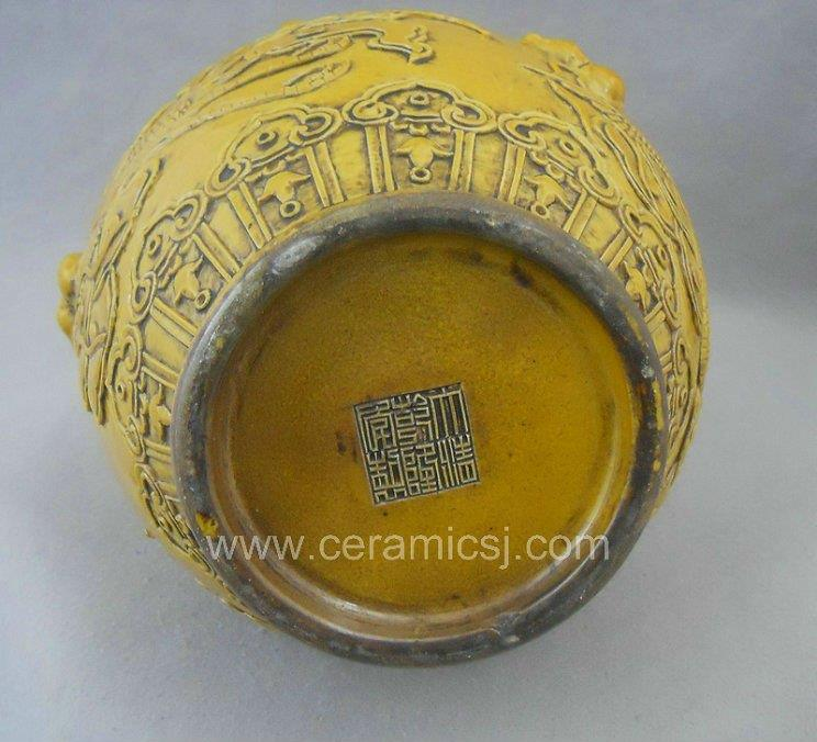 antique yellow hand carved ceramic vase WRYRA02