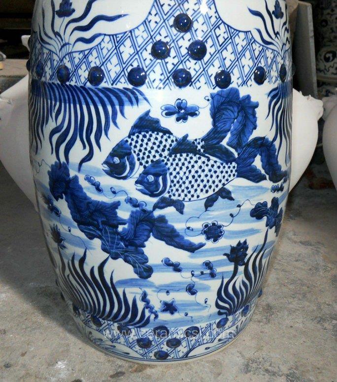 Ceramic Garden Stool Blue and white fish design WRYSI04