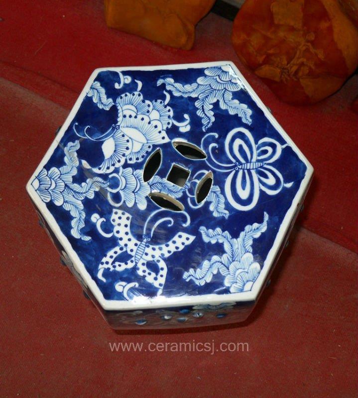 Asian Flower butterfly Drum Antique Stool WRYSI09