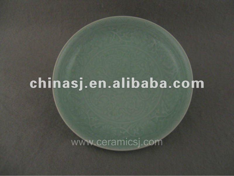 Beautiful green glazed porcelain plate with beautiful design WRYPE06