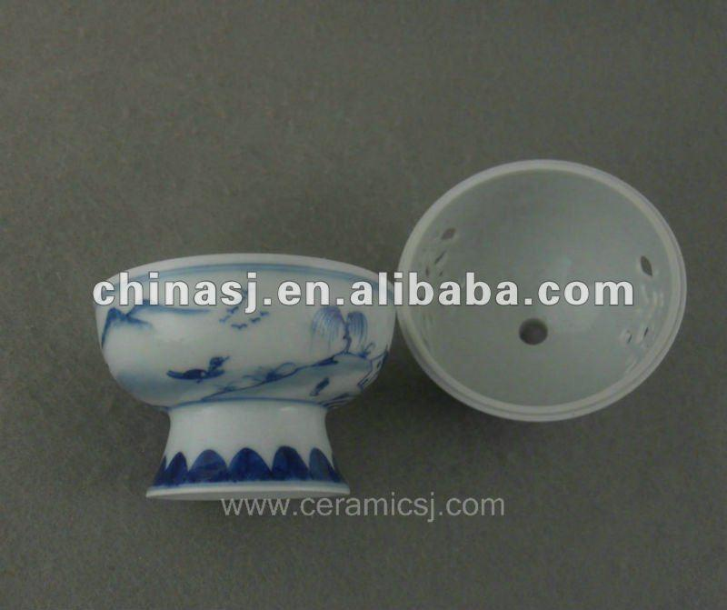 beautiful blue and white ceramic Censer with landscape design WRYTZ03