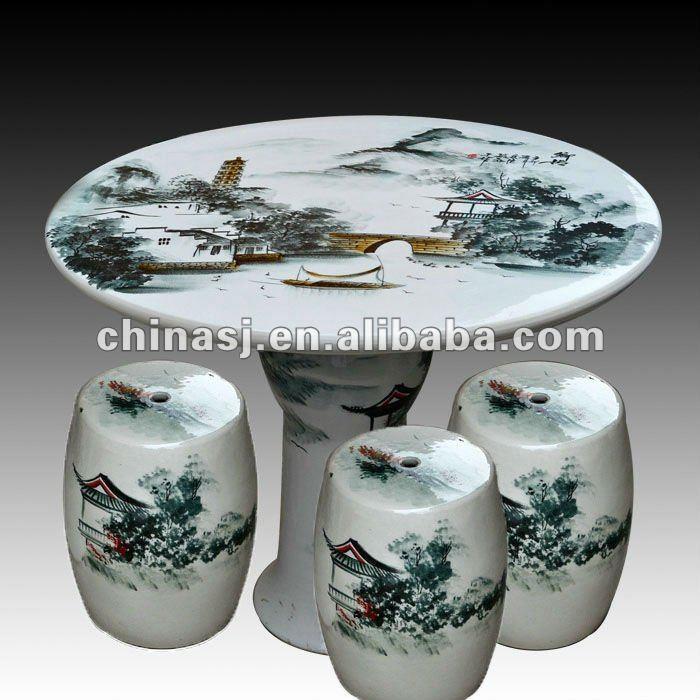 antique wucai landscape ceramic garden stool table set RYAY270