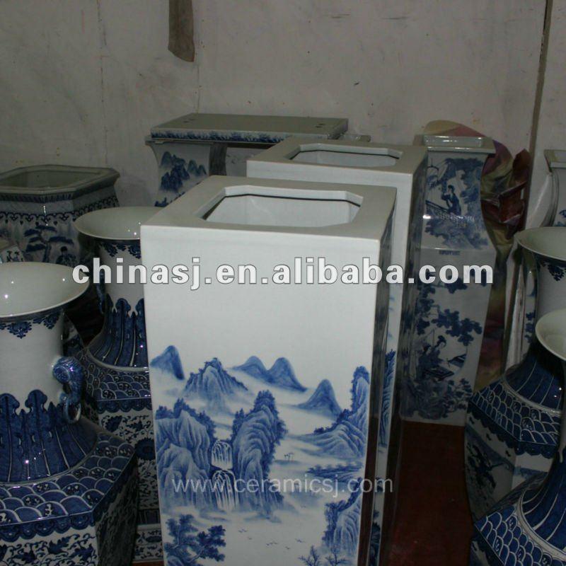 large tall square ceramic flower vase RYUZ03