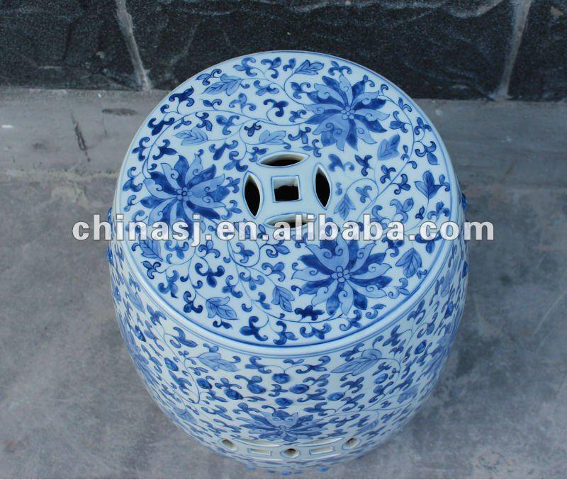 blue and white ceramic garden stool RYKF11