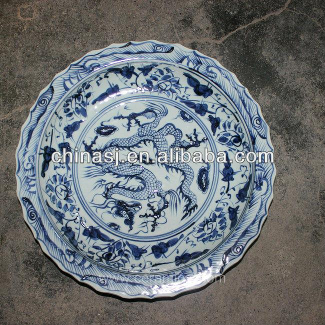 blue white decorative Porcelain Plate for appreciate RYVH03