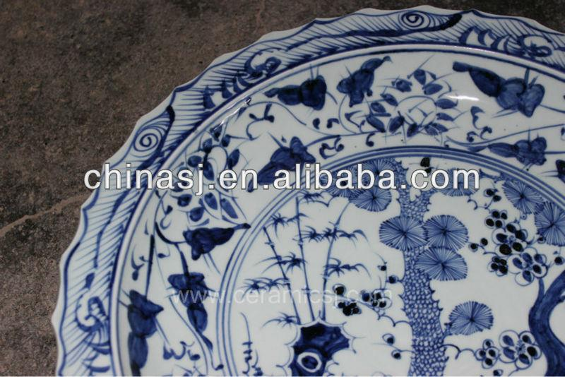 blue white decorative Porcelain Plate for appreciate RYVH05