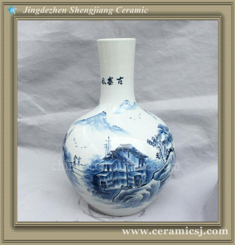 RYSV18 hand made blue and white pottery vase