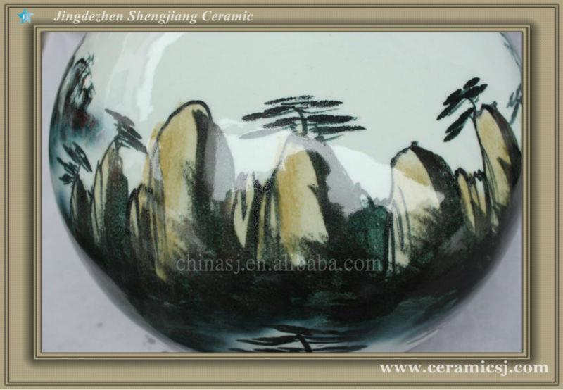 RYSV19 hand made green pottery vase
