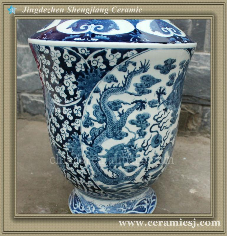RYUJ13 Blue and white tall indoor cheap flower vase