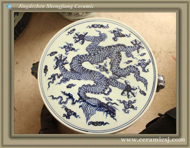 RYWC02 Blue And White Dragon Ceramic Garden Stool