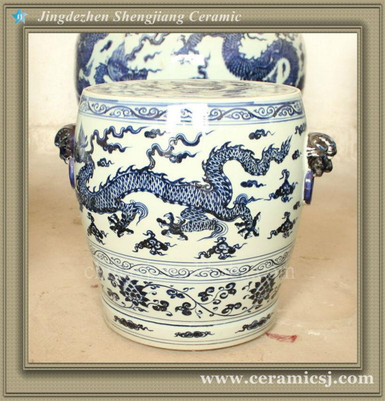 Rywc02 Blue And White Dragon Ceramic Garden Stool Jingdezhen Shengjiang Ceramic Co Ltd