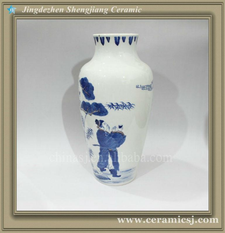 RYWU19 chinese antique hand painted flower vase