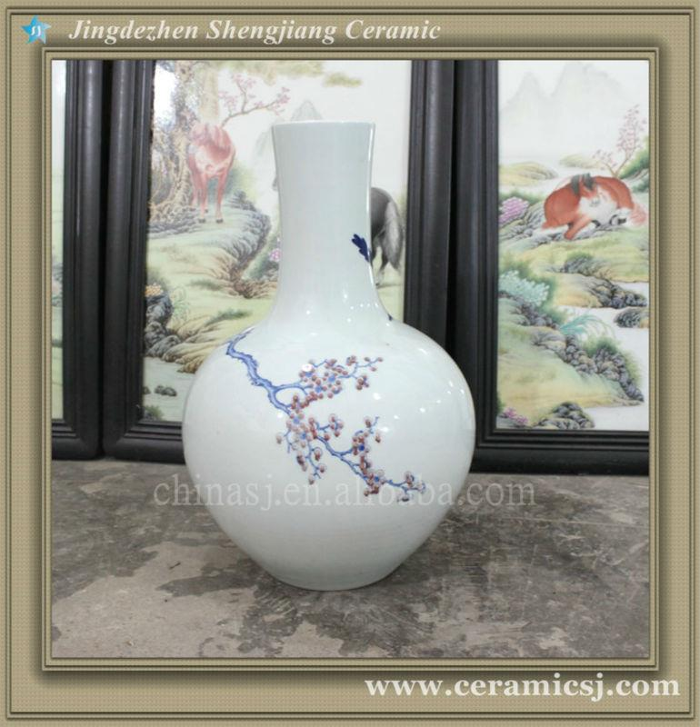 RYWU24 asian blue and white decorative floor bud vase