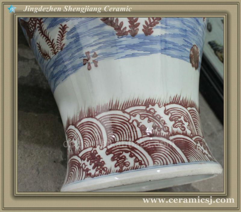 RYWU25 asian blue and white decorative floor bud vase