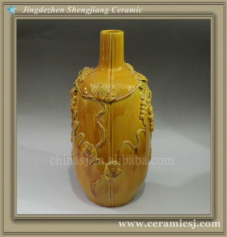 RYJN06 hand carved chinese ceramic yellow vase