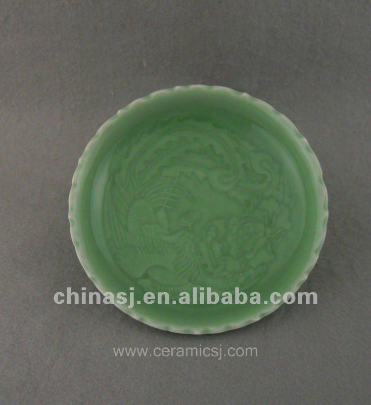 Beautiful green glazed porcelain plate with beautiful design WRYPE04