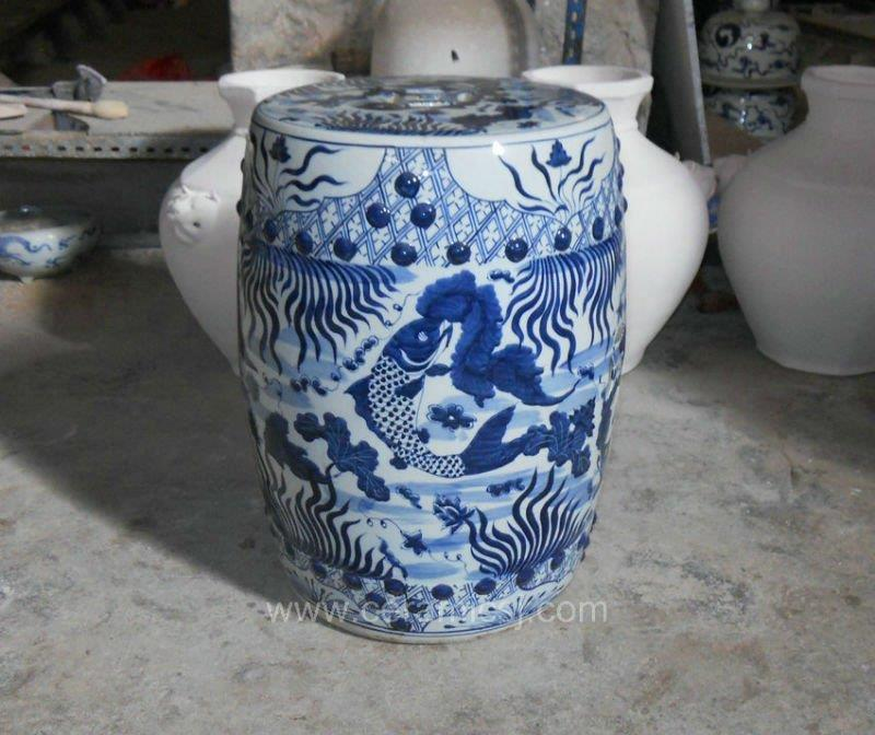 Ceramic Garden Stool Blue And White Fish Design Wrysi04 Jingdezhen Shengjiang Ceramic Co Ltd