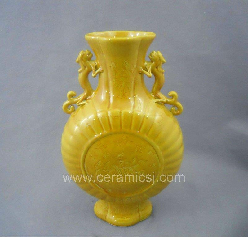 Ming Dynasty Yellow Glazed Ceramic Vase Wryrc01