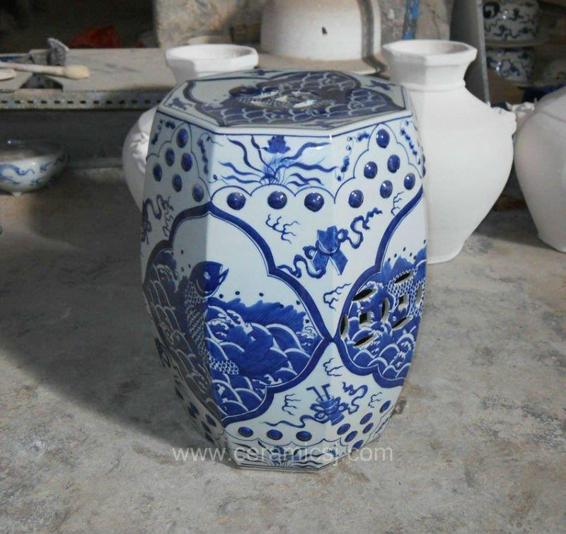 Octagon Ceramic Garden Stool Blue and white fish design WRYSI03
