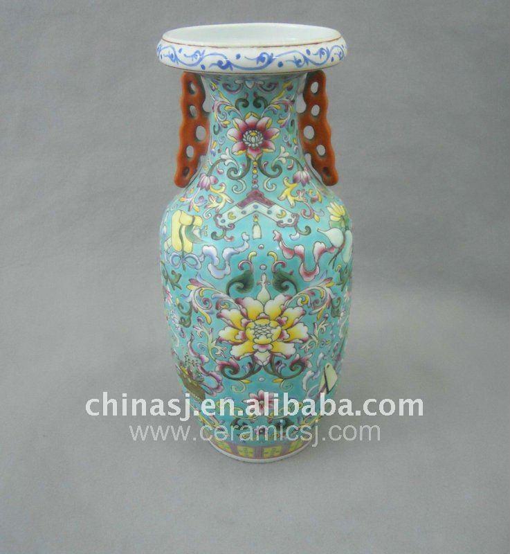 Qing Dynasty green Famille rose Ceramic Vase WRYRD01