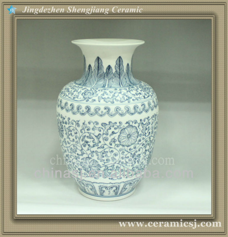 RYUJ07 Oriental blue and white top flower table vase