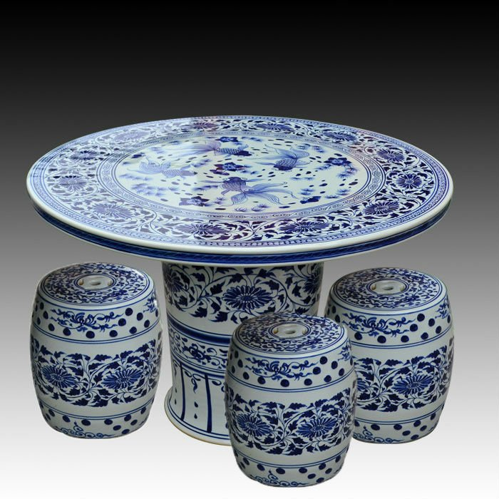 Antique Blue And White Ceramic Garden Stool Table Set Ryay266 Jingdezhen Shengjiang Ceramic Co