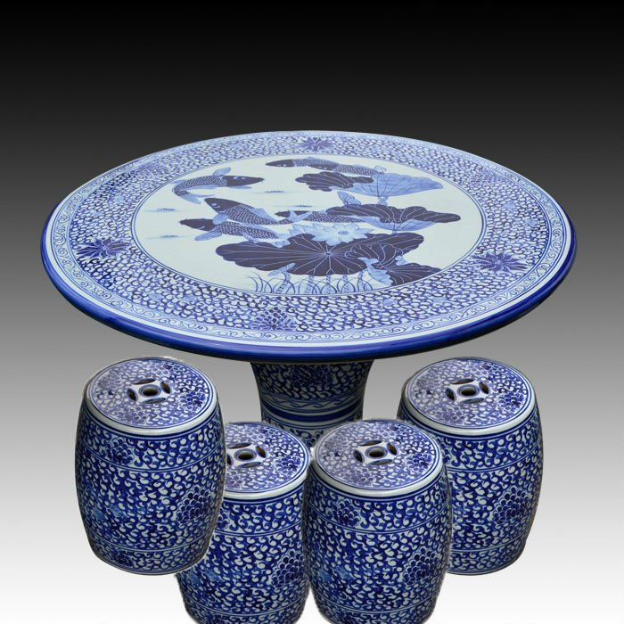 Antique Blue And White Ceramic Garden Stool Table Set Ryay269 Jingdezhen Shengjiang Ceramic Co