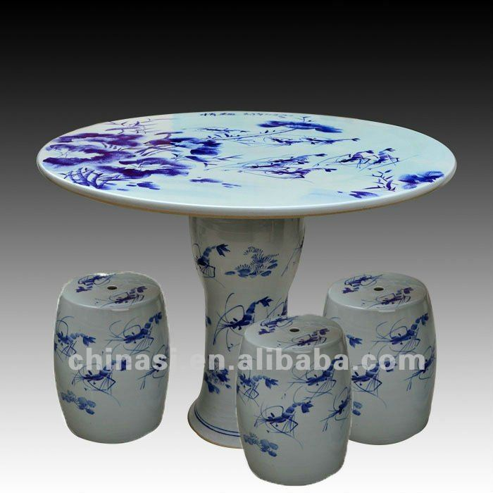 antique blue and white ceramic garden stool table set RYAY265