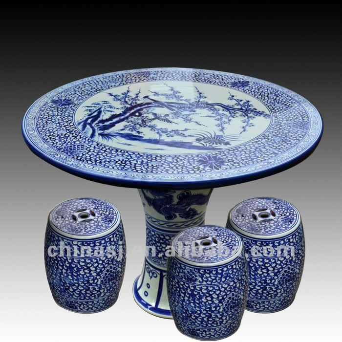 Antique Blue And White Ceramic Garden Stool Table Set Ryay253 Jingdezhen Shengjiang Ceramic Co