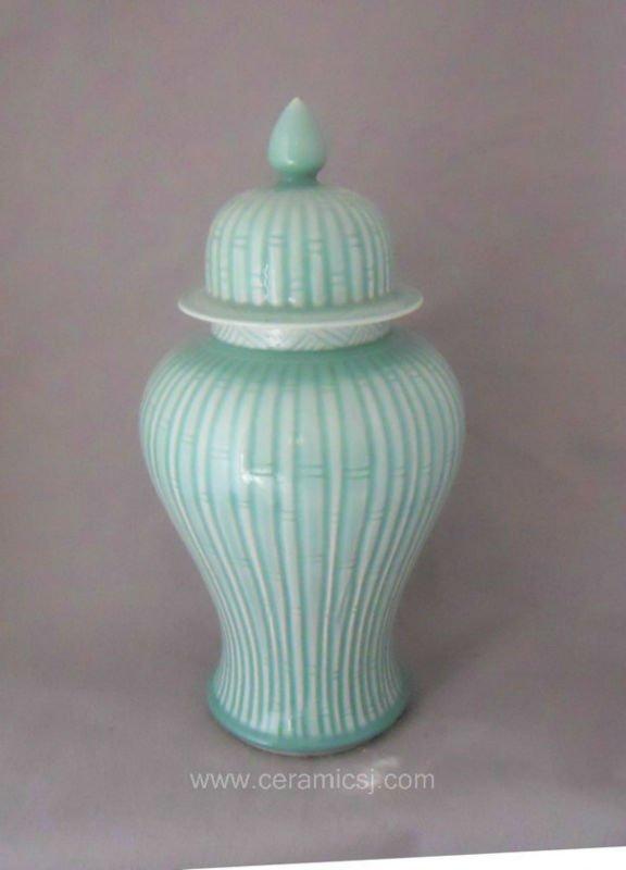 bamboo blue ceramic ginger jar WRYKB98