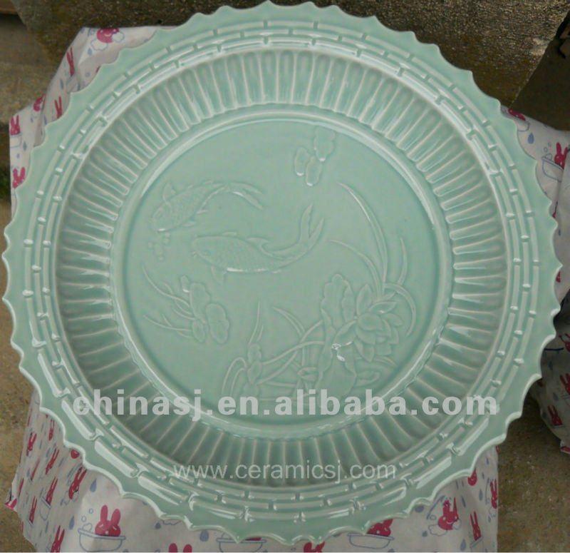 beautifui celadon ceramic fishbowl with The fish swim map design WRYMA87