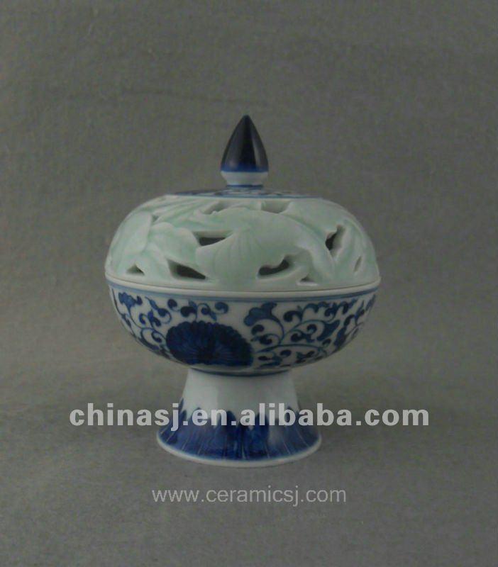 beautiful blue and white ceramic Censer with flower design WRYTZ02