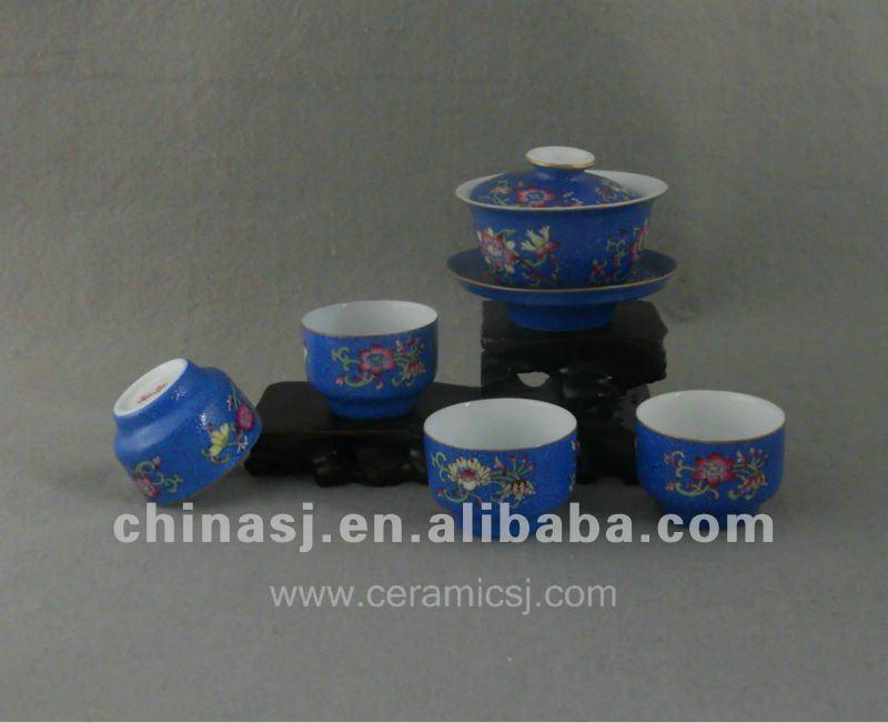 beautiful blue ceramic Tea set with flower design WRYTN01