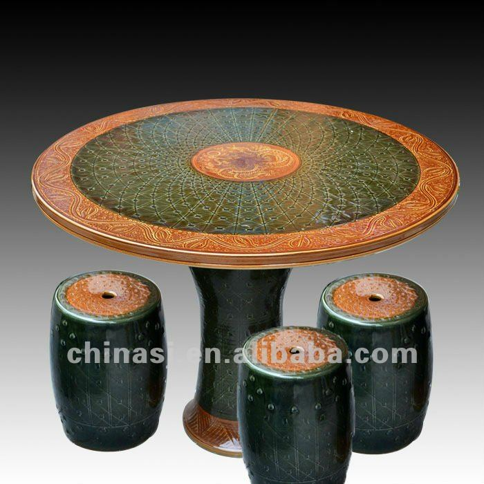 beautiful brown ceramic garden stool table set RYAY252