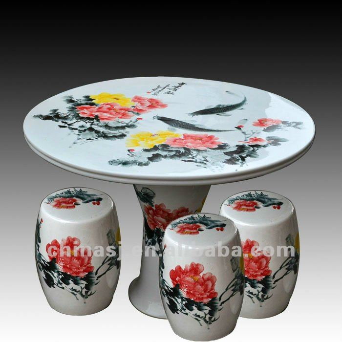 beautiful colored peony ceramic garden stool table set RYAY254