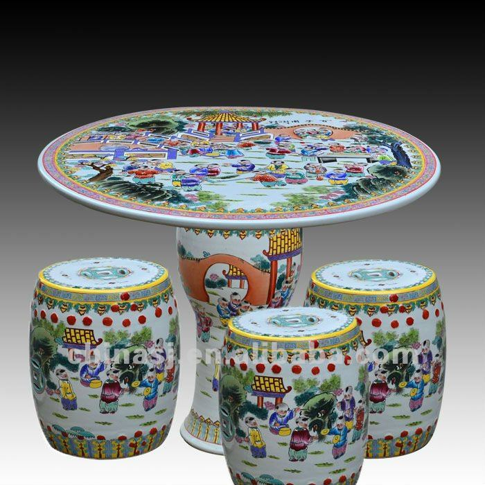 beautiful colored people design ceramic garden stool table set RYAY263