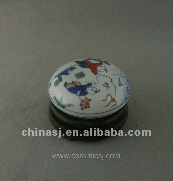 beautiful hand painted colored Porcelain storage box with playing boy design WRYAS128