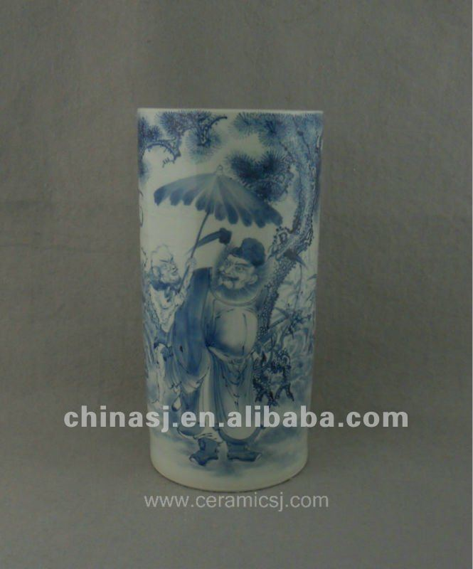 beautiful handmade blue and whitceramic vase with people design WRYUC01