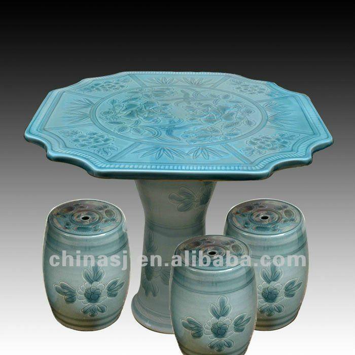 beautiful light blue ceramic garden stool table set RYAY268