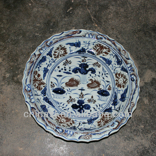 big blue white Porcelain Plate for appreciate RYVH10