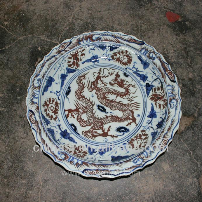 big blue white Porcelain Plate for appreciate RYVH12