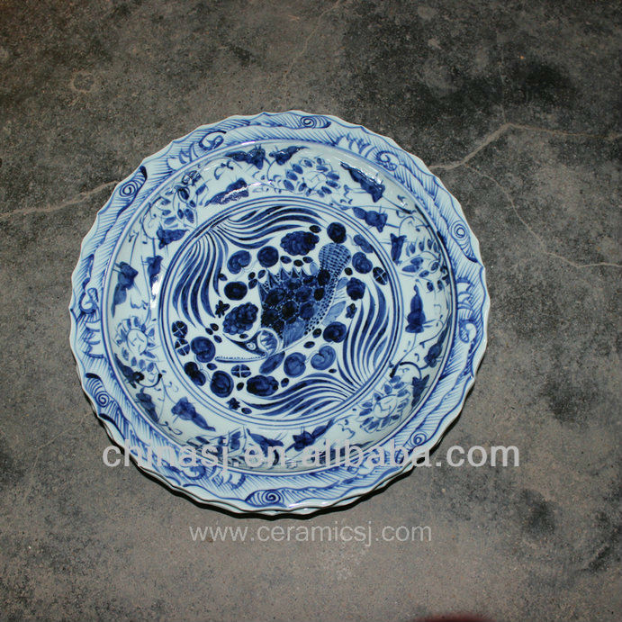 big blue white Porcelain Plate for appreciate RYVH07