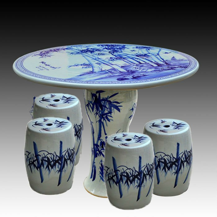Blue And White Bamboo Ceramic Garden Stool Table Set Ryay267 Jingdezhen Shengjiang Ceramic Co