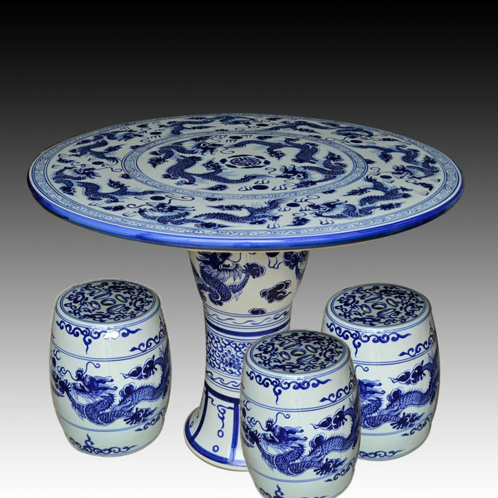 Blue And White Bamboo Ceramic Garden Stool Table Set Ryay271 Jingdezhen Shengjiang Ceramic Co