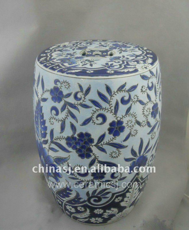 blue and white flower design Garden Stool WRYPU11