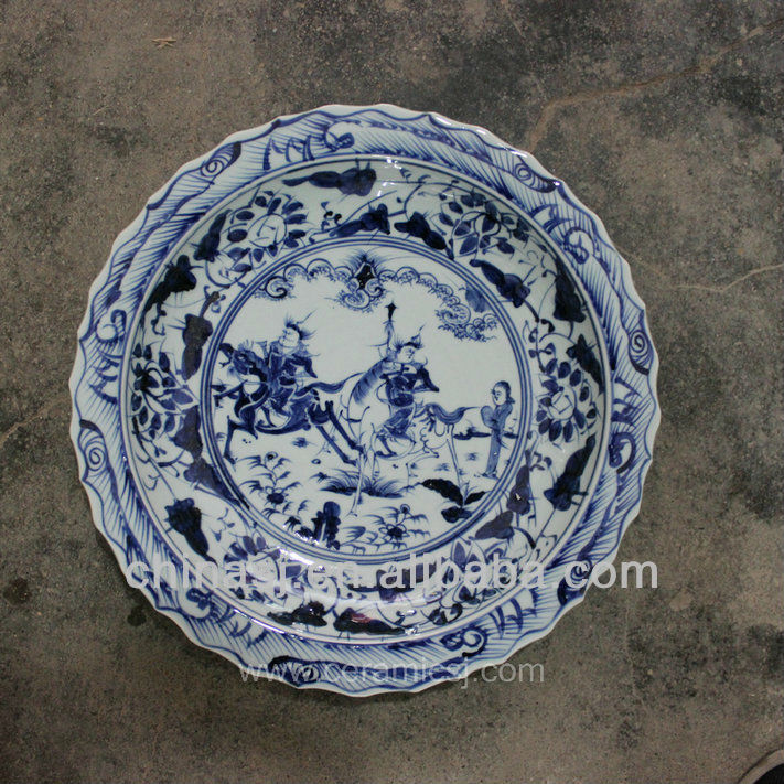 blue white decorative Porcelain Plate for appreciate RYVH01