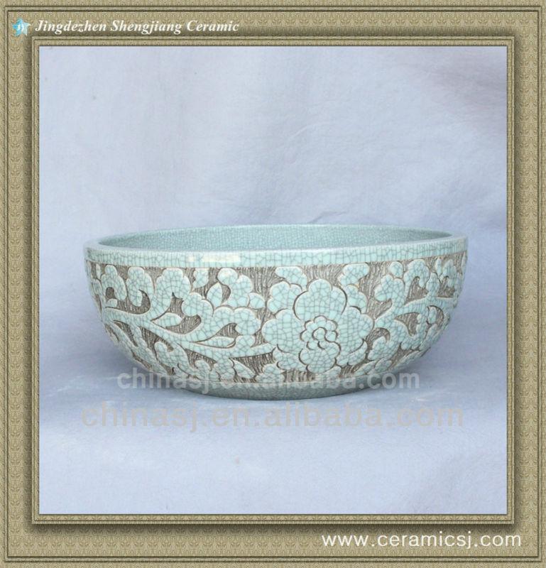 crackled chinese ceramic bathroom sink WRYBH90