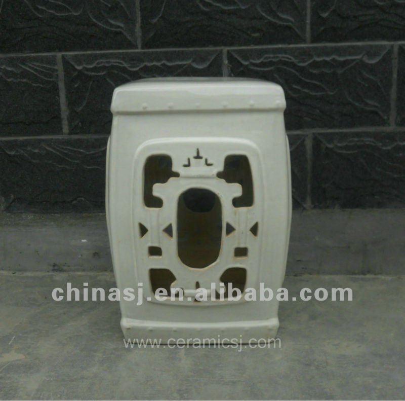 handmade White ceramic Garden Stool WRYTP01